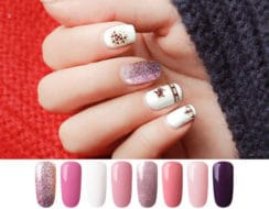 AZUREBEAUTY gel nail polish set pink purple glitter colors 8 pcs