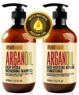 Moroccan Argan Oil Shampoo and Conditioner SLS Sulfate Free Organic Gift Set - Best for Damaged, Dry, Curly or Frizzy Hai